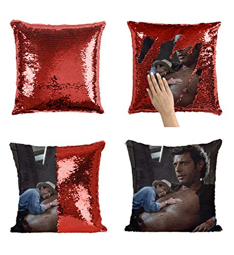 Actor Jeff Goldblum Topless Sweaty Sexy_MA0791 Pillow Cover Sequin Mermaid Flip Reversible Almohada Meme Emoji Actor Girls Boys Couch Office Sofa (Cover Only)