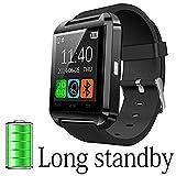 Montre intelligente de mode, montre-bracelet à écran tactile Bluetooth Smartwatch avec moniteur de sommeil podomètre pour Samsung, Galaxy Note, Nexus, HTC, téléphone Android de Sony (U8) (Noir-1)