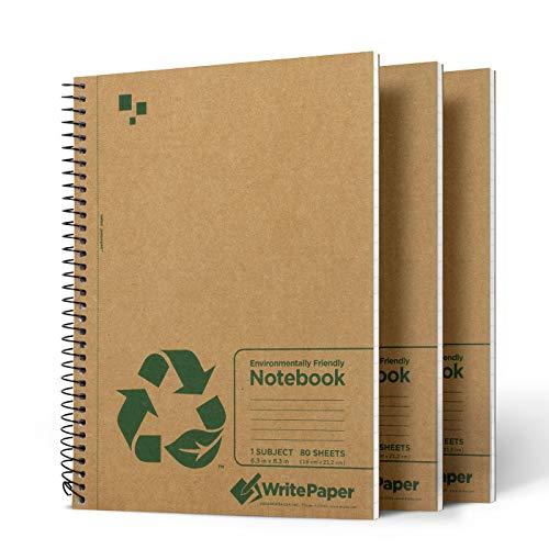 Write Paper Notizbuch A5 Notizblock Liniert 80 Blatt (160 Seiten) Spiralheft 3er Pack Kraftbraun