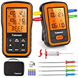 Wireless Digital Meat Thermometer with 4 Probes & Meat Injector, Upgraded 500FT Remote Range Cooking Food Thermometer for Grilling & BBQ & Oven & Kitchen