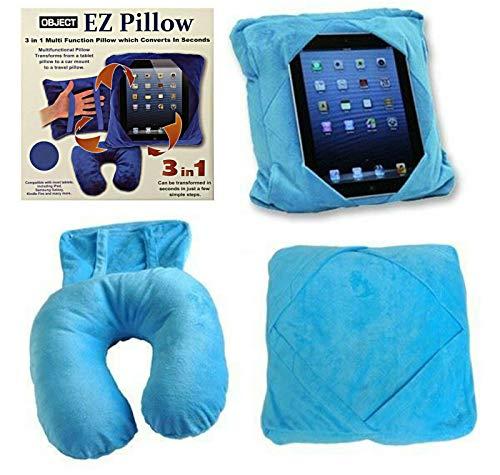 3-in-1 Tablet-Halterung für Kinder, Auto-Halterung, Reise-Nackenkissen, Sitzsack, Blau