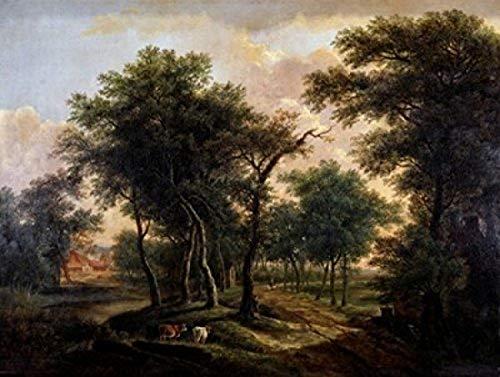 Barend Cornelis Koekkoek – A Wooded Landscape Barend Cornelis Koekkoek (1803-1862 Dutch) Poster Drucken (60,96 x 91,44 cm)