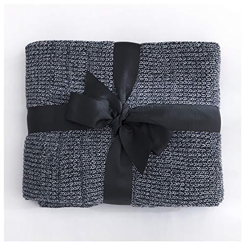 FGDSA Manta de sofá grande, color gris, ligera, acogedora, manta de lana de punto de algodón, para ocio, sofá, para el almuerzo, aire acondicionado de doble cara, manta de calentamiento de rodilla