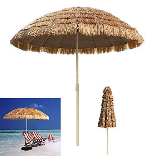 JNMDLAKO 8.2 pies Paja Patio Tiki Paraguas Tropical Palapa Rafia Tiki Hut Hawaiano Hula Paraguas de Playa Anti-UV Sombrilla al Aire Libre Sombrilla portátil