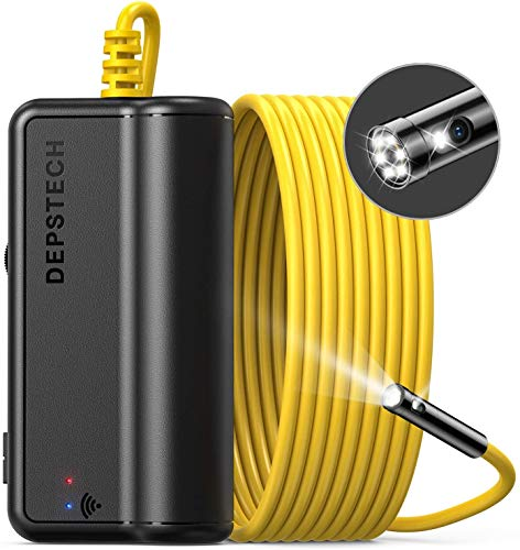 DEPSTECH Dual Lens Wireless Endoscope, 1080P Scope Camera with 7 LED Lights, 0.31In Lens Video HD Inspection Camera, Zoom Waterproof Borescope Semi-Rigid Cable for Android & iOS Phone or Tablet-16.4FT