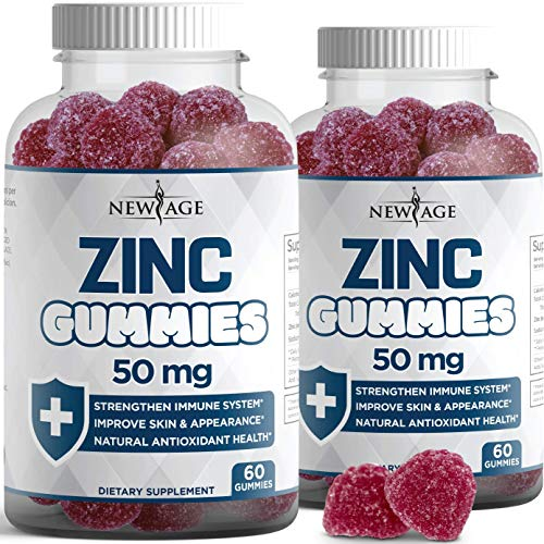 Zinc Gummies - 2 Pack - High Potency Immune Booster Zinc Supplement, Immune Defense, Powerful Natural Antioxidant, Non-GMO Zinc 50mg - by New Age, 120 Count