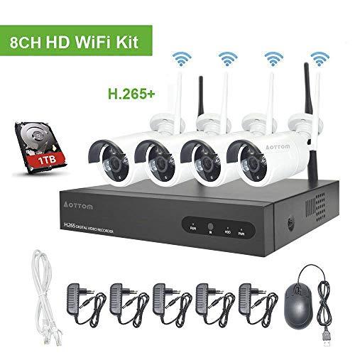 WLAN Videoüberwachung Set Kabellos, Aottom 8CH 1080P WLAN Überwachungskamera System, 8CH NVR + 4X2MP Überwachungskameras Outdoor, Bewegungserkennung, P2P, Beweungsmelder, Wasserdicht, mit 1 TB HDD