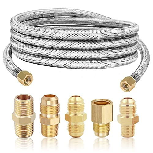 MCAMPAS 10 Feet High Pressure Braided Propane Hose Extension with Conversion Coupling 3/8' Flare to 1/2' Female NPT, 1/4' Male NPT,3/8' Male NPT,3/8' Male Flare for BBQ Grill, Heater, Fire Pit