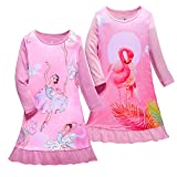 Flamingo Nightgowns for Girls Cotton Pajamas Toddler Sleepwear Long Sleeve Night Dresses Size 7/8 (2-Pack,L)