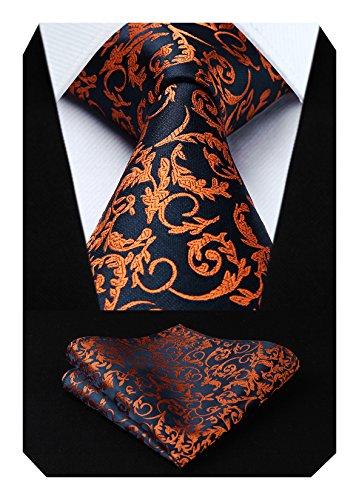 HISDERN Herren Krawatte Blumen Paisley Hochzeit Krawatte & Einstecktuch Set Orange und Marineblau