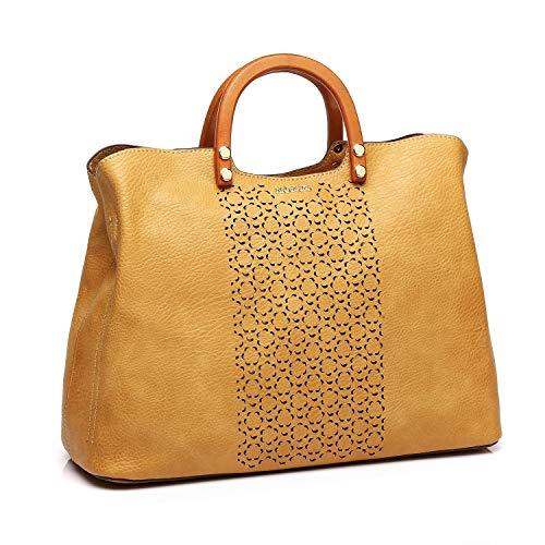 Abbacino bolso bandolera tipo shopping con asas de madera