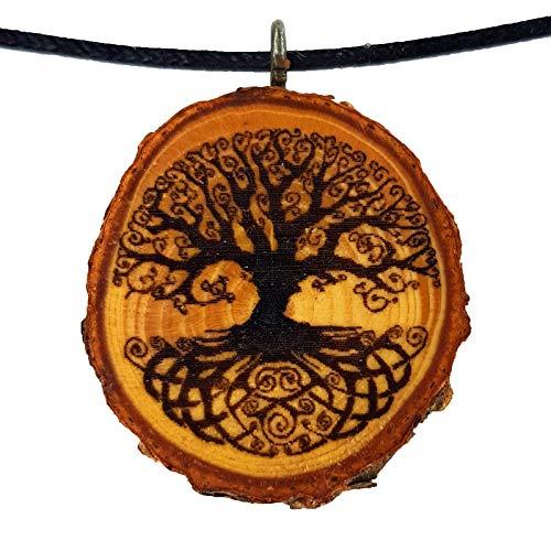SOULSLICES Baum des Lebens 9 - Yggdrasil HolzKette - Natur - Holzanhänger - Keltisch - Nachhaltig - Astschmuck - Gravur - Yoga - Bedeutung- Geschenk - Natur-Schmuck - Damen - Frauen