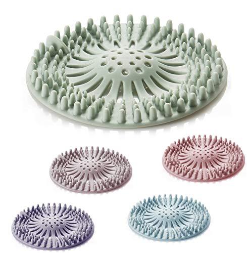 Tinkber 5 Pièces Couvercles de Drain de Douche, Filtre Attrape Cheveux Douche Silicone Tube Drainer Attrape Cheveux Bouchon avec Ventouse pour Cuisine Salle de Bain