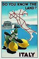 """ブリキサインイタリア地図面白いブリキサインバーパブガレージダイナーカフェ家の壁の装飾アートポスター8 """"X 12"""""""