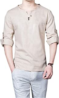 Mogogo Mens Fitted V Neck Long Sleeve Vintage Roll up Cotton Linen T-Shirt Top