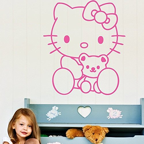 Ambiance-Live Wandtattoo hello Kitty Teddy - 63 X 55 cm, Pink
