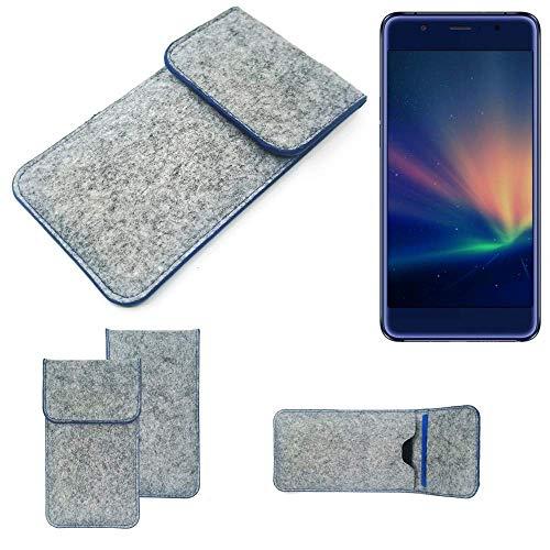 K-S-Trade Filz Schutz Hülle Für Hisense A2 Pro Schutzhülle Filztasche Pouch Tasche Hülle Sleeve Handyhülle Filzhülle Hellgrau, Blauer Rand