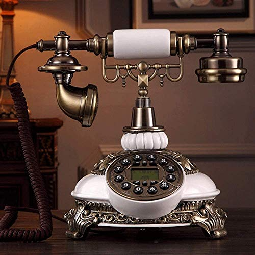 ZOUSHUAIDEDIAN Retro antigua usanza rueda giratoria principal y la oficina Teléfono, girando el dial retro Teléfono con cable con pantalla LCD - decoración clásica for el hogar, oficina, familia, la g