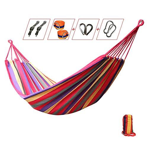 JTH Hammock Swing, Quick Dry Hammock Pieghevole Curvo Bamboo Spreader Bar Portatile Amaca per Campeggio Patio Esterno Cortile, Resistenza all Acqua (Color : Red, Size : 2x1 m)