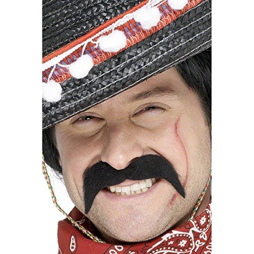 NET TOYS Mexikanischer Banditen Bart Faschingsbart Schwarz Bart schwarz Schnauzer Kunstbart Schnauzbart Schnäuzer Oberlippenbart Oliba