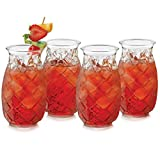 Libbey Tiki Pineapple Glasses, Set of 4