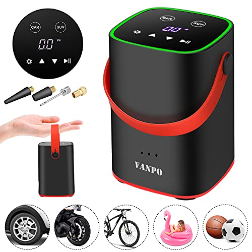 VANPO Compressore Portatile, Portable Air Pump Batteria Ricaricabile 2000 mAh, LED Touchscreen 150PSI Gonfiatore Pneumatici per Moto, Bici, Auto, Palloni,Letti gonfiabili