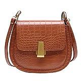 HoSayLike Paquete De Las Mujeres Bolso Crossbody Messenger Bag Bolsas De Mensajero Moda Casual Color SóLido PatróN De Cocodrilo Cuero Gran Capacidad Bandolera (Marrón)