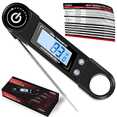 Kizen Instant Read Meat Thermometer - Best Super Fast Talking Digital Thermometer for Food, Kitchen, Cooking BBQ, Grill! 2018 UPGRADED MODEL! (Black)