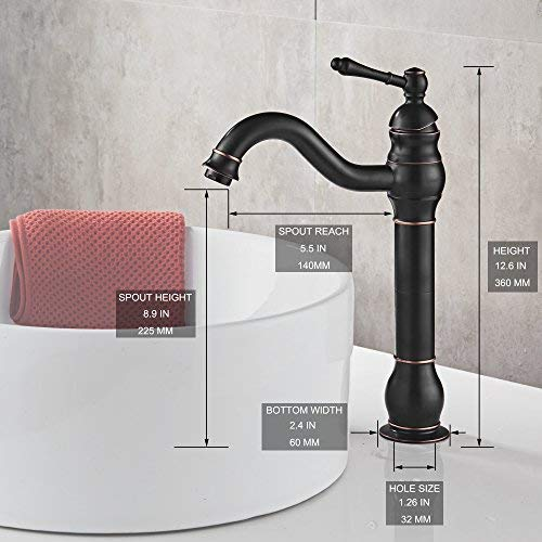 MYHB 360° Swivel Oil Rubbed Bronze Bathroom Vessel Sink Faucet with POP UP Drain Single Handle Lever Bowl Tap Mixer