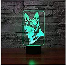 3D German Shepherd Night Light Touch Table Desk Optical Illusion Lamps 7 Color Changing Lights Home Decoration Xmas Birthday Gift