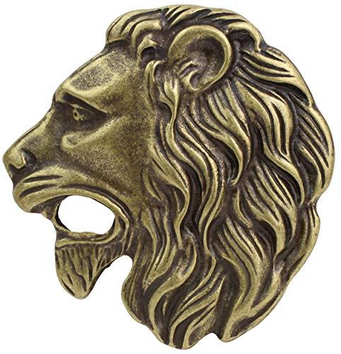 Brazil Lederwaren Gürtelschnalle Löwenkopf 4,0 cm | Buckle Wechselschließe Gürtelschließe 40mm Massiv | LARP- und Mittelalter-Outfit | Altmessing