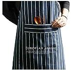 KICCOLY Professionelle Küchenschürze Schwarz und weiß Gestreift - Koch schürze - Doppel Taschen 100% Baumwolle - verstellbarem Nackenband, für Männer, Chef, Bäcker, Bediener, Kellner, Handwerker (Haushaltswaren)