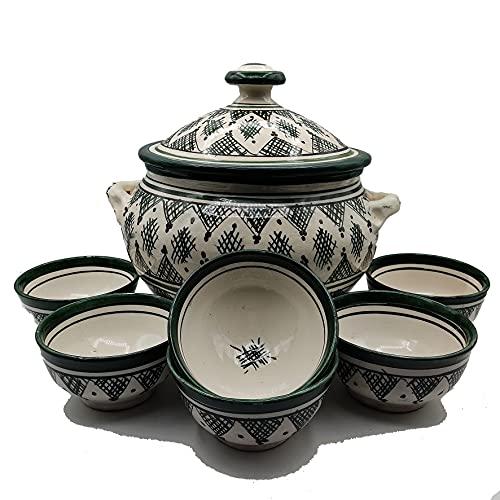 Sopera 6 tazas cerámica terracota marroquí sopa fondue cocina 2505210913