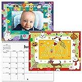 2020 Graphic Photo Calendar - 8-3/4' x 7' Closed, Insert 12 Photos into Pretty Themed Frames