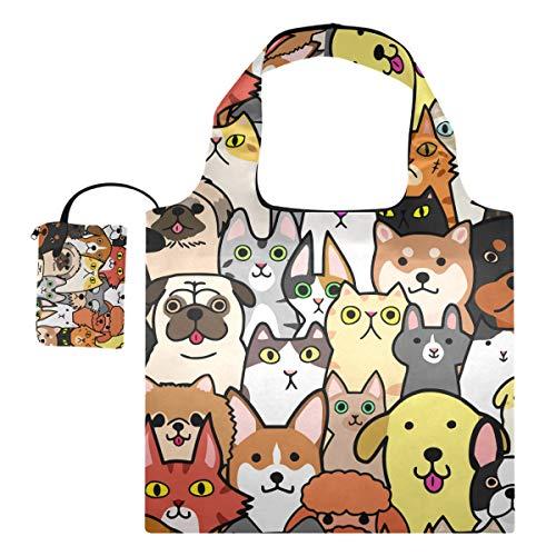 UMIRIKO Reutilizables Bolsas de Comercio Lindo Gato Perro de dibujos animados Patrón Plegable Tote Bolsas de Compras Bolsa de Hombro Lavable para las Mujeres 2020032