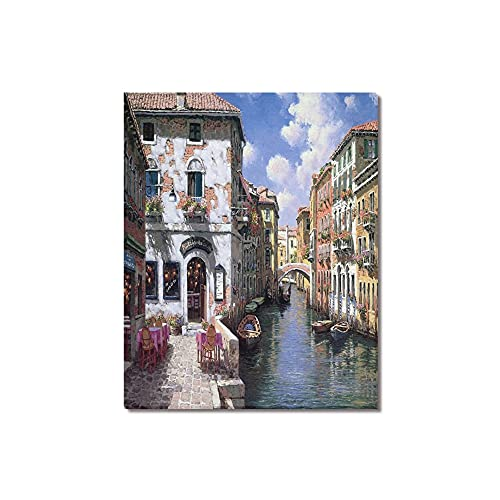 """Beautiful Modern Art Watercolor Painting Color Italy Venice Canvas Print Wall Art 16"""" x 20"""" Inch, Stretched and Framed Artwork Decor Wall Living room Office, Art Abstract City Landscape Watercolor Picture Canvas Wall Art Print"""