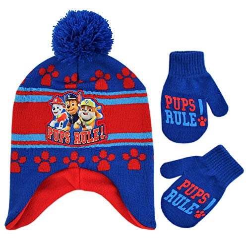 Nickelodeon Boys' Toddler Paw Patrol Character Pups Rule Hat Set, blue/red, Mittens - Age 2-4