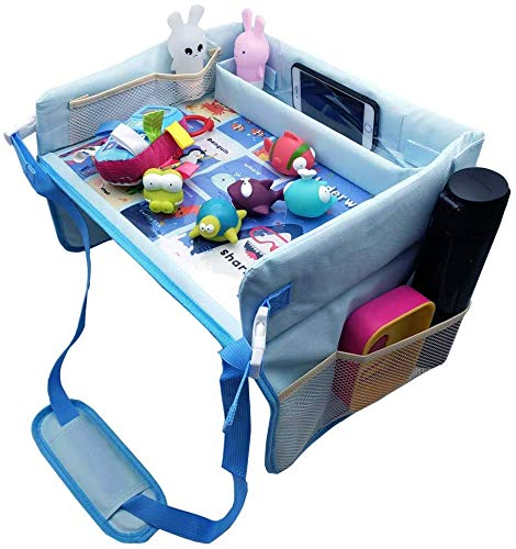 Kids Travel Play Tray,Water-Proof Baby Toddler Car Seat Travel Tray for Drawing,Organize Snacks,Snack Play Tray with Multi-Pockets for Cars,Plane Activities