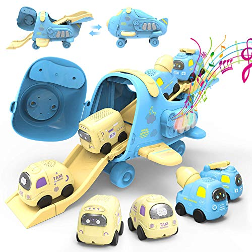 PEAINBOX Transport Airplane Car Toys,5 in 1 Play Vehicles Toys with Slide Way & Music,Gift Toys for Boys Girls Toddlers