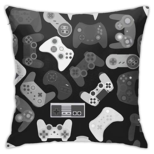 Video Game Controller Black White Gadgets Throw Pillow Covers Decorative 18x18 Inch Pillowcase Square Cushion Cases for Home Sofa Bedroom Livingroom