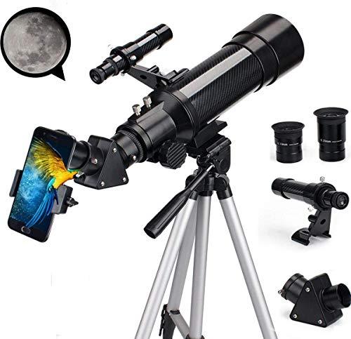 SOLOMARK 天体望遠鏡 ぼうえんきょう 子供 初心者 屈折式 70mm大口径400mm焦点距離 天体観測 スマホ撮影 正像天頂ミラー 軽量 伸縮式三脚 アダプターを付き ブラック