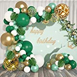 Jungle Safari Theme Party Balloons Arch Garland Kit, 22'18'12' Large Green Gold White Confetti Latex Balloons with Tropical Palm Leaves & 5 Tools for Safari Animal Baby Shower Wedding Birthday Party Graduation Decorations Supplies