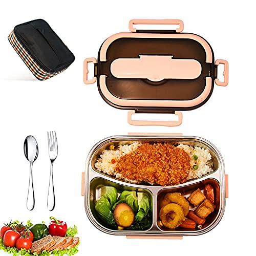 Lunch Box 1500ml, Bento Box in acciaio inox 304, Lunch Box impermeabile con borsa isolante, Lunch Box riscaldato a microonde. Adatto per scuola, lavoro e picnic. (Rosa)
