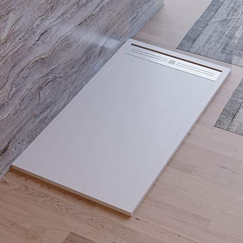 Plato de ducha gris claro, diseño moderno, modelo Malaga, de mármol y resina con efecto piedra pizarra, luxury, gelcoat, slim 3 cm, gris