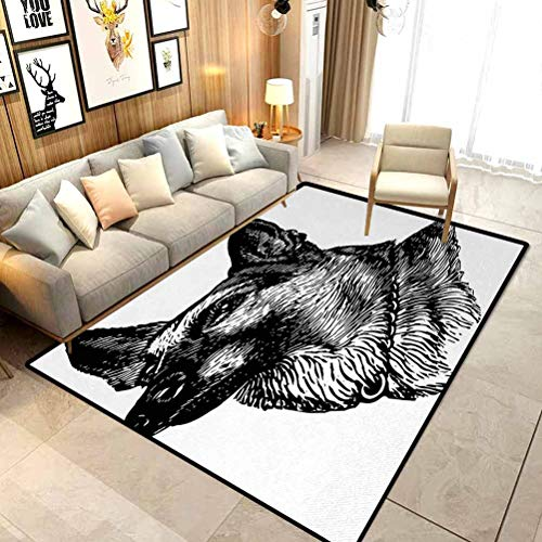 Animal Camping Rugs for Outside Your Classroom Rugs Pencil Sketchy Image of Dogs Human Best Friend Guardian Police Animal Artwork Chair mats for Carpeted Floors Black and White W5x L7 Ft