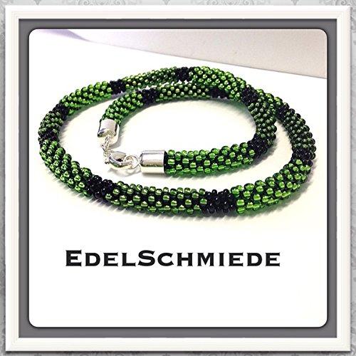 Häkelkette / Glasperlenkette, Grün Schwarz, mit 925/- Silber Verschluß