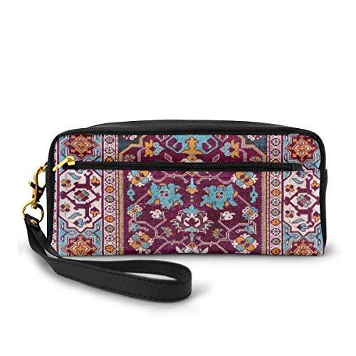 Yuanmeiju Romanian Antique Double Niche Carpet Small Makeup Bags Purse PU Leather Travel Cosmetic Pouch Simple Pencil Pouches