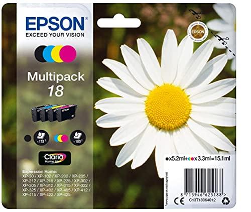 Epson C13T18064012 - Cartucho de tinta original para Epson XP-30 (4 unidades), multicolor, Ya disponible en Amazon Dash Replenishment