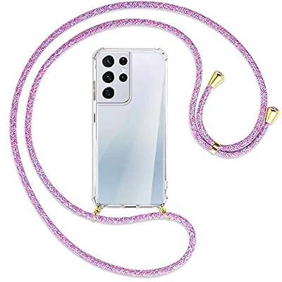 mtb more energy® Collar Smartphone para Samsung Galaxy S21 Ultra 5G (SM-G998, 6.8'') - Unicornio Morado/Oro - Funda Protectora ponible - Carcasa Anti Shock con Cuerda Correa