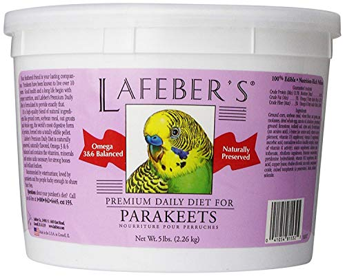LAFEBER'S Premium Daily Diet Pellets Pet Bird Food, Made with Non-GMO and Human-Grade Ingredients, for Parakeets (Budgies), 5 lbs